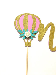 1 pc one hot air balloon flower rose floral Gold Glitter Cake Topper Toddler boy girl first Birthday smash cake