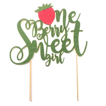 "Load image into Gallery viewer, 1 pc ""One Berry Sweet girl "" script Gold Glitter Cake Topper for first Birthday Baby girl fruit Strawberry summer cake smash party"