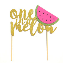 "Load image into Gallery viewer, 1 pc ""one in a melon"" script Gold Glitter Cake Topper for first Birthday Baby girl boy summer cake smash party watermelon"