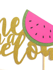 "1 pc ""one in a melon"" script Gold Glitter Cake Topper for first Birthday Baby girl boy summer cake smash party watermelon"