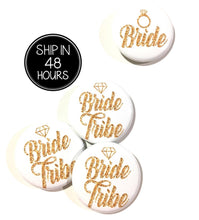 Load image into Gallery viewer, 10 pcs bride tribe badge pin pinback button wedding shower bachelorette party favors gift diamond ring faux gold glitter