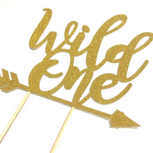 Load image into Gallery viewer, 1 pc Wild One ARROW script bohemian boho tribal native Theme DOUBLE SIDED Gold Glitter Cake Topper Birthday Baby Shower boy girl