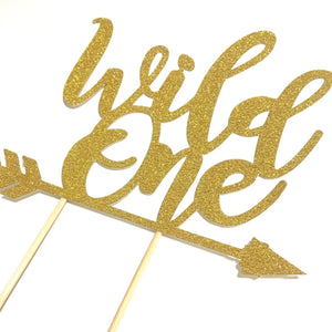 1 pc Wild One ARROW script bohemian boho tribal native Theme DOUBLE SIDED Gold Glitter Cake Topper Birthday Baby Shower boy girl