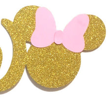 Load image into Gallery viewer, 1 pc TWO Minnie Mouse Head Pink Gold Glitter Cake Topper for second Birthday Baby girl