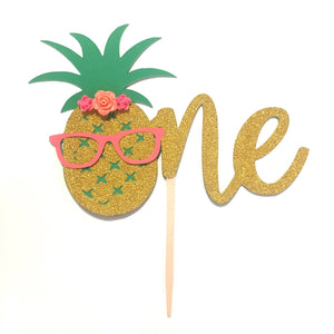 1 pc flowers ONE pineapple glasses cake topper aloha luau tropical party first birthday toddler boy girl summer theme cake smash