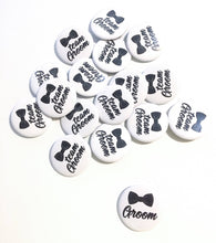 Load image into Gallery viewer, 10 pcs BOW Groom and Team Groom badge pin pinback button wedding shower bachelor party favors gift black & white background