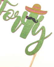 Load image into Gallery viewer, 1 pc Forty mustache sombrero cactus cacti cake topper green glitter fiesta mexican party theme birthday spring summer