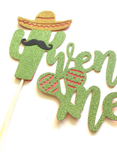 Load image into Gallery viewer, 1 pc twenty one mustache sombrero cactus cacti cake topper green glitter fiesta mexican party theme birthday boy girl spring summer