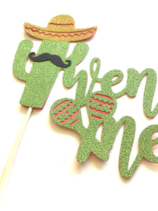 1 pc twenty one mustache sombrero cactus cacti cake topper green glitter fiesta mexican party theme birthday boy girl spring summer