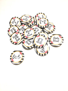 10 pcs kate spade inspired maid of honor bridesmaids mother of bride badge pin pinback button wedding shower bachelorette party favors gift