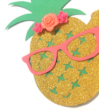 Load image into Gallery viewer, 1 pc flowers ONE pineapple glasses cake topper aloha luau tropical party first birthday toddler boy girl summer theme cake smash