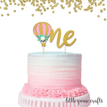 Load image into Gallery viewer, 1 pc one hot air balloon flower rose floral Gold Glitter Cake Topper Toddler boy girl first Birthday smash cake