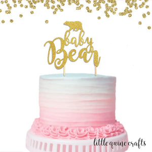 1 pc Baby Bear script Gold Glitter Cake Topper Baby Shower Gender Reveal First Birthday party boy girl