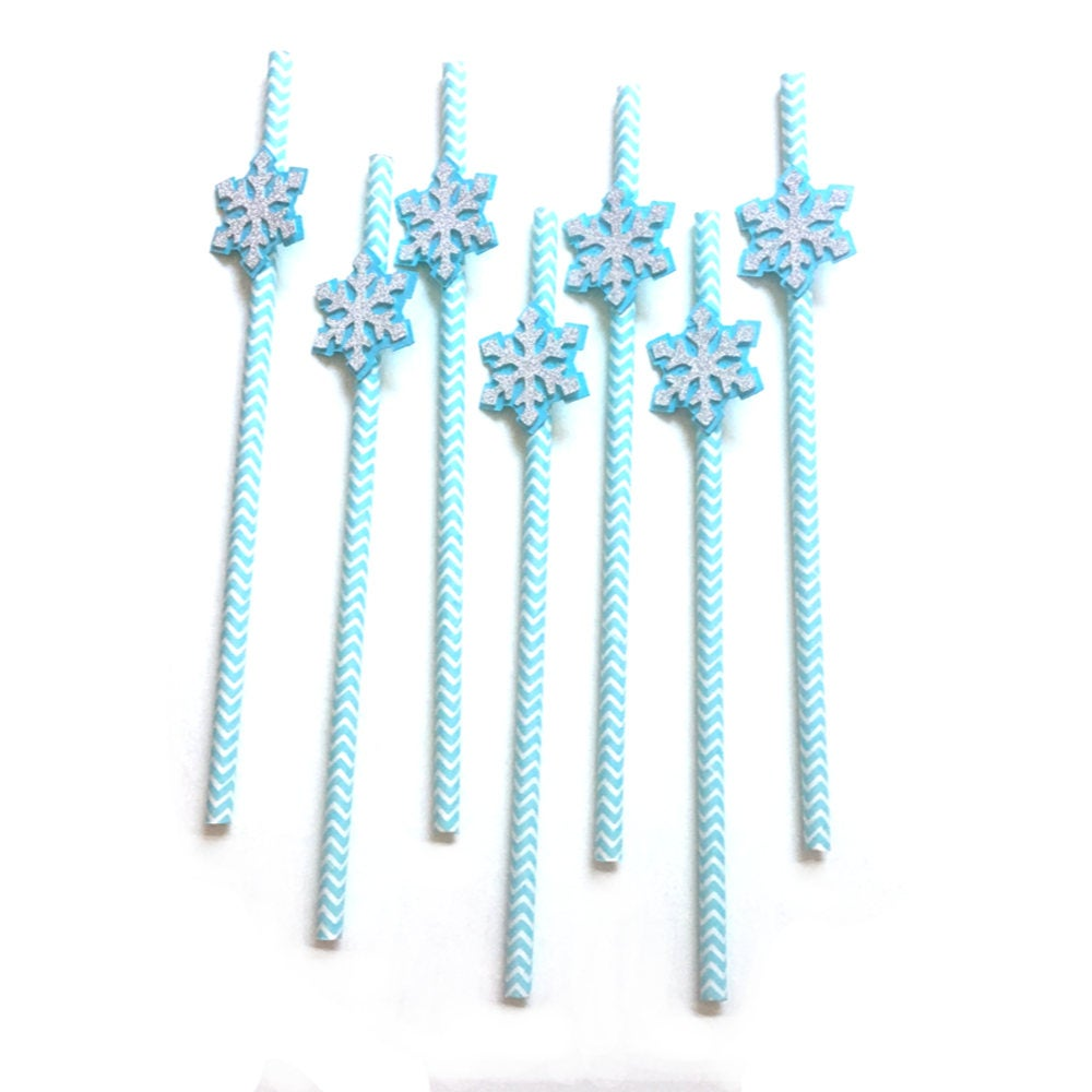 12 pcs Snowflake silver glitter baby blue chevron paper straws first birthday baby shower gender reveal winter onederland theme