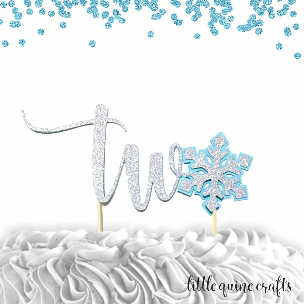 Two Snowflake silver glitter baby blue cake topper for second birthday winter wonderland theme