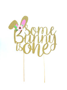 1 pc Some Bunny is ONE Flowers Gold Glitter Cake Topper for first Birthday Baby Girl Bunny theme