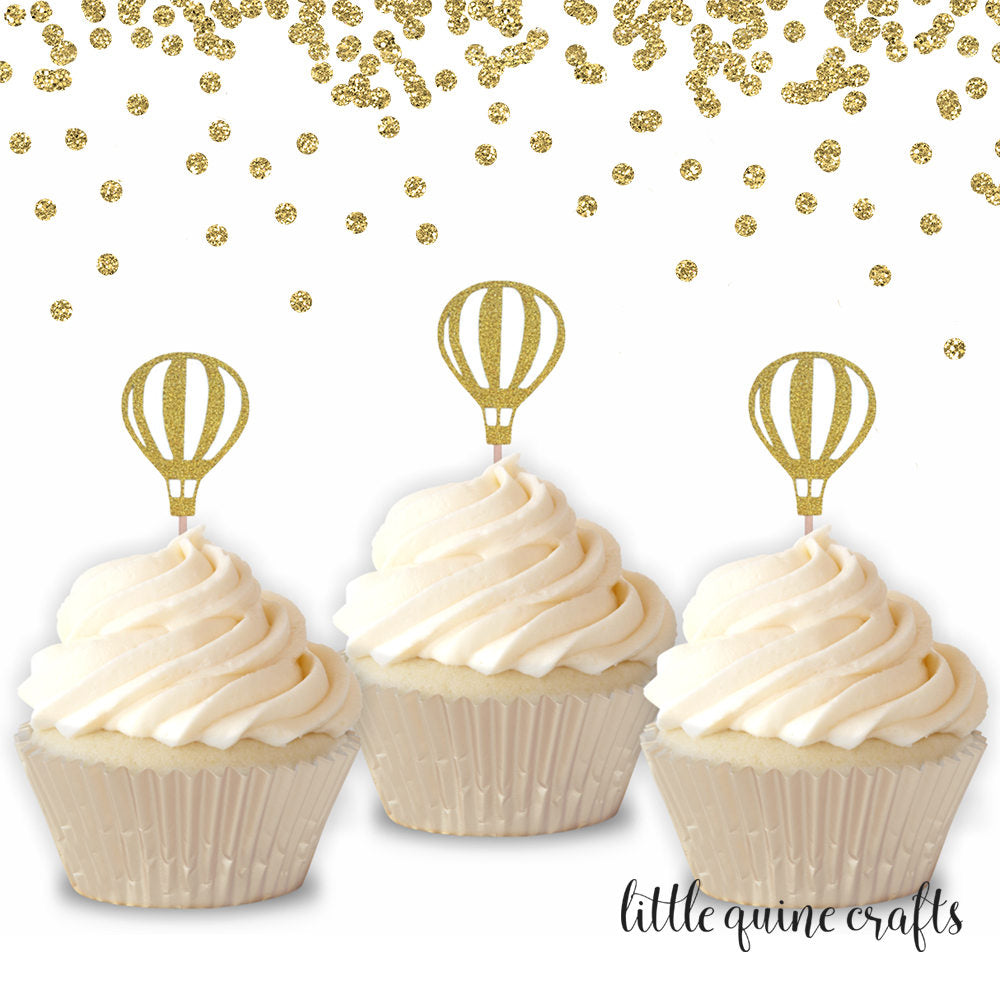 12 pcs Up Up & Away MINI cupcake topper Gold Glitter Hot Air Balloon Toddler boy girl Birthday Baby Shower Wedding Theme