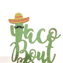 Load image into Gallery viewer, 1 pc taco bout a baby mustache sombrero cactus cacti cake topper green glitter fiesta festive party theme baby shower