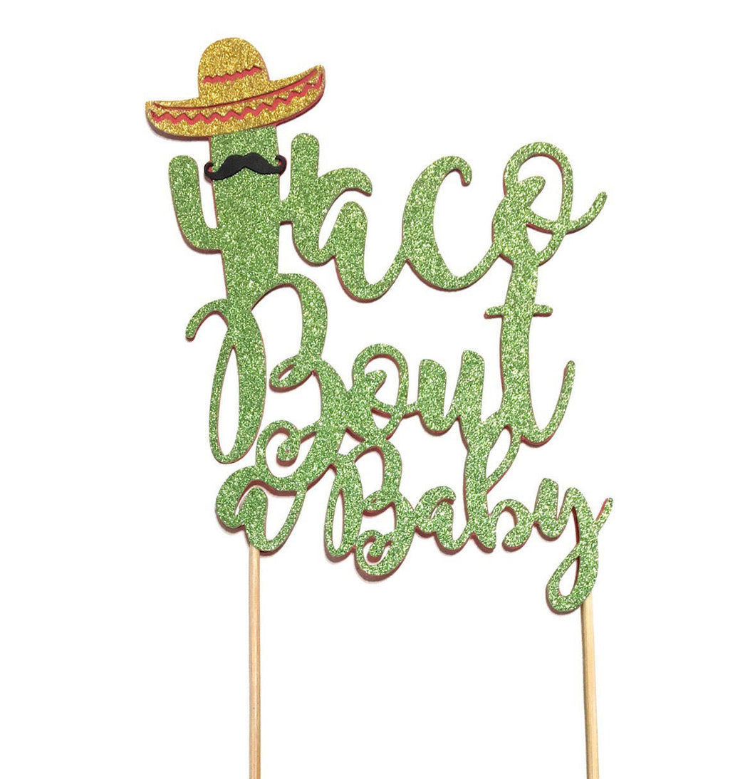 1 pc taco bout a baby mustache sombrero cactus cacti cake topper green glitter fiesta festive party theme baby shower