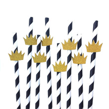 "Load image into Gallery viewer, 12 pcs gold glitter ""crown"" wild one where the wild things are black & white paper straw for first birthday party boy"