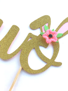1 pc Flowers Bunny Ear TWO Gold Glitter Cake Topper for Birthday Baby Girl Second Birthday