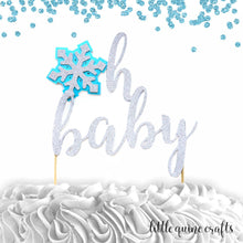Load image into Gallery viewer, 1 pc 'oh baby' snowflake DOUBLE SIDED silver glitter baby blue cake topper baby shower boy girl gender reveal winter wonderland snow theme