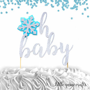 1 pc 'oh baby' snowflake DOUBLE SIDED silver glitter baby blue cake topper baby shower boy girl gender reveal winter wonderland snow theme
