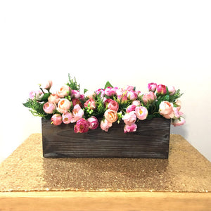 1 pc Custom text Personalized rectangular wooden box flower rustic pot for wedding room home decor woodland centerpiece house warming gift