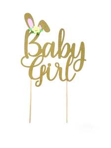 1 pc Baby Girl flower bunny ears gold glitter pink cake topper party theme baby shower girl spring summer
