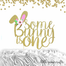 Load image into Gallery viewer, 1 pc Some Bunny is ONE Flowers Gold Glitter Cake Topper for first Birthday Baby Girl Bunny theme