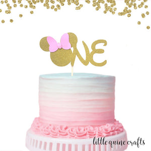 1 pc ONE Minnie Mouse Head Pink Gold Glitter Cake Topper for first Birthday Baby girl