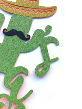 Load image into Gallery viewer, 1 pc it's a boy mustache sombrero cactus cacti cake topper green glitter fiesta festive party theme taco baby shower