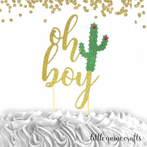 1 pc oh boy flower cactus gold green glitter cake topper party theme baby shower boy girl spring summer