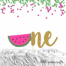 Load image into Gallery viewer, 1 pc one watermelon script Gold Glitter Cake Topper for first Birthday Baby girl boy summer cake smash party fruit
