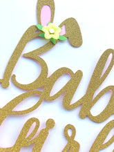 Load image into Gallery viewer, 1 pc Baby Girl flower bunny ears gold glitter pink cake topper party theme baby shower girl spring summer