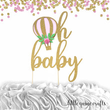 Load image into Gallery viewer, 1 pc oh baby hot air balloon flower roses floral Gold Rose Gold Silver Glitter Cake Topper boy girl baby shower