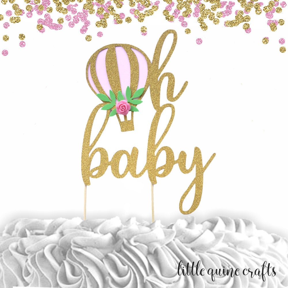 1 pc oh baby hot air balloon flower roses floral Gold Rose Gold Silver Glitter Cake Topper boy girl baby shower