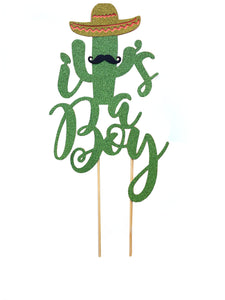 1 pc it's a boy mustache sombrero cactus cacti cake topper green glitter fiesta festive party theme taco baby shower