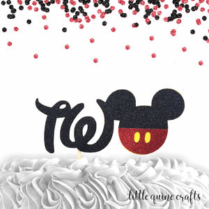 1 pc TWO Mickey Mouse Head Red Black Glitter Cake Topper for second Birthday Baby boy