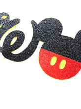Load image into Gallery viewer, 1 pc TWO Mickey Mouse Head Red Black Glitter Cake Topper for second Birthday Baby boy
