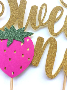"1 pc ""Sweet One"" Strawberry script Gold Green Glitter Cake Topper for first Birthday Baby girl fruit summer cake smash party"