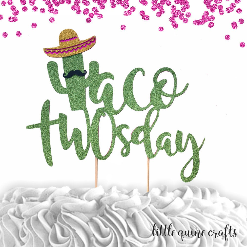 1 pc Taco TWOsday mustache sombrero cactus cacti cake topper green glitter fiesta festive party theme second birthday boy girl spring summer