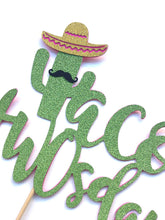 Load image into Gallery viewer, 1 pc Taco TWOsday mustache sombrero cactus cacti cake topper green glitter fiesta festive party theme second birthday boy girl spring summer
