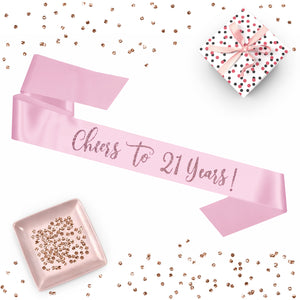 1 piece Cheers to 21 Years! script sash luxurious satin rose gold glitter for birthday party gift ready prop