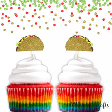 Load image into Gallery viewer, 12 pc taco fiesta cupcake topper gold glitter Mexican party theme birthday baby shower wedding Bachelorette party