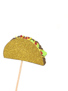 12 pc taco fiesta cupcake topper gold glitter Mexican party theme birthday baby shower wedding Bachelorette party