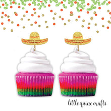 Load image into Gallery viewer, 12 pc sombrero hat fiesta cupcake topper gold glitter festive party theme birthday baby shower wedding Bachelorette party