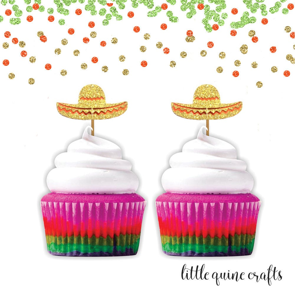 12 pc sombrero hat fiesta cupcake topper gold glitter festive party theme birthday baby shower wedding Bachelorette party