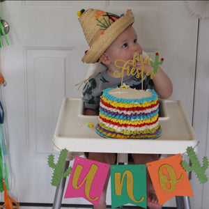 1 pc UNO or ONE Gold Glitter Cactus Fiesta High Chair Banner Party Photo prop Decoration First Birthday Cake Smash