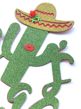 Load image into Gallery viewer, 1 pc it's a girl mustache sombrero cactus cacti cake topper green glitter fiesta festive party theme taco baby shower